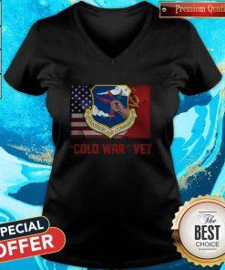 Strategic Air Command Cold War Vet American Flag V-neck