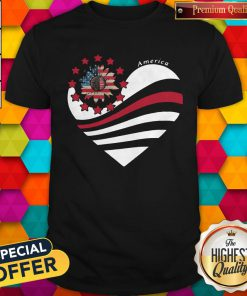 Sunflower Heart American Flag Independence Day Shirt
