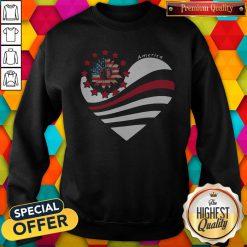Sunflower Heart American Flag Independence Day Sweatshirt