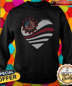 Sunflower Heart American Flag Independence Day Sweatshirt