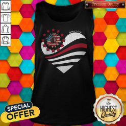 Sunflower Heart American Flag Independence Day Tank Top