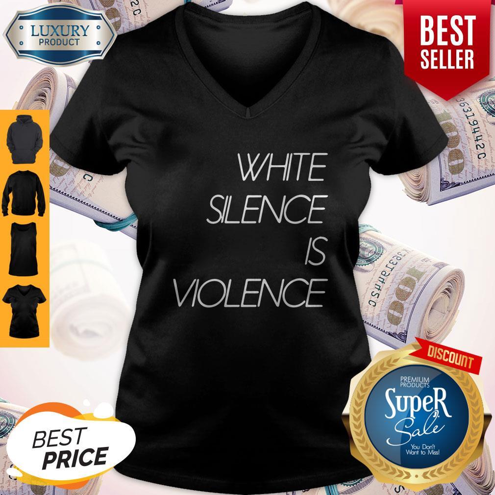 Top White Silence Is Violence V-neck