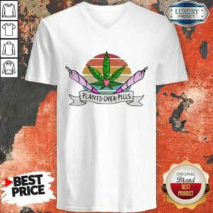 Weed Plants Over Pills Vintage V-neck