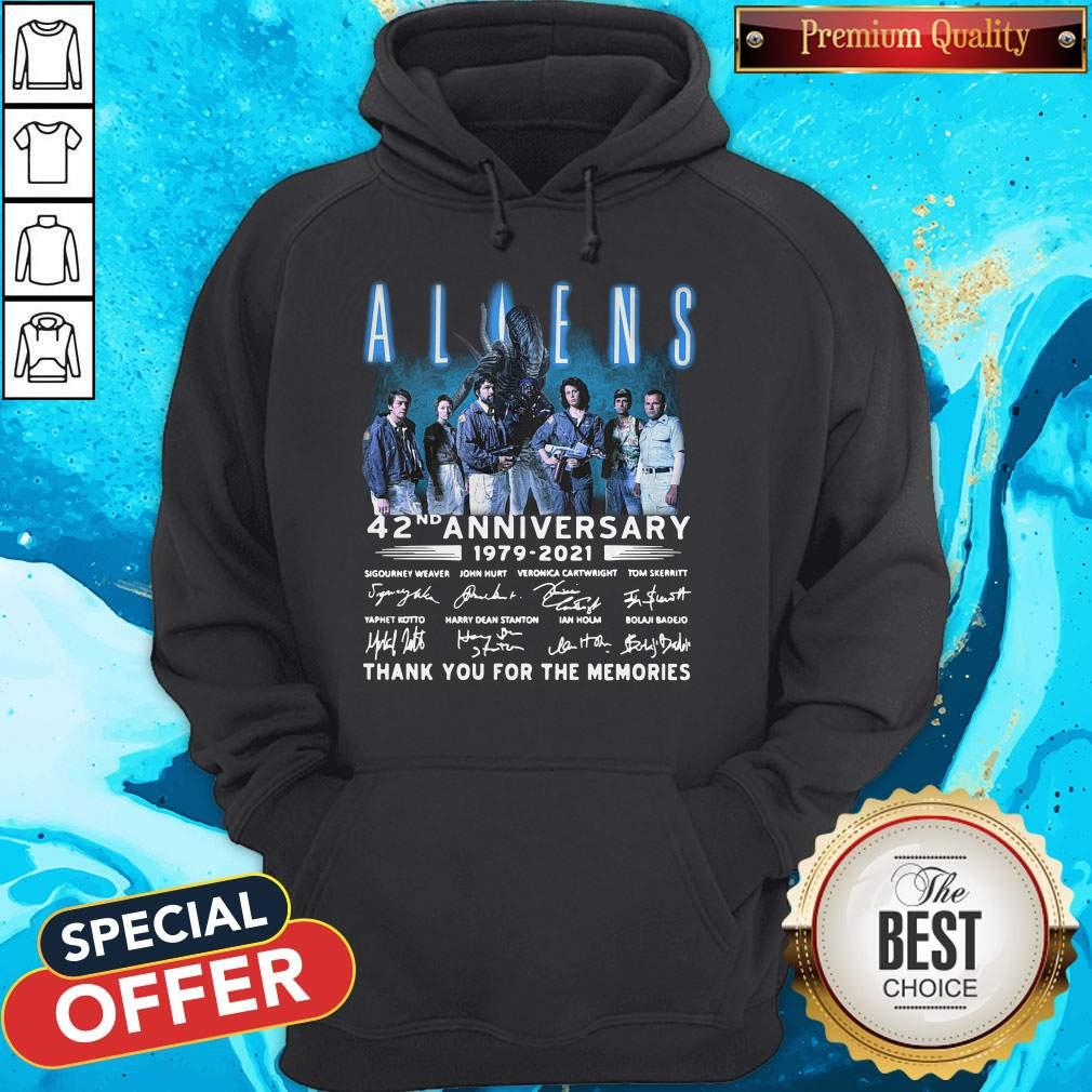 Aliens 42nd Anniversary 1979-2021 Signatures Thank You For The Memories Hoodie