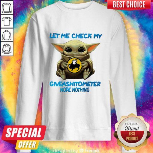 Baby Yoda Hug Buffalo Wild Wings Let Me Check My Giveashitometer Nope Nothing Sweatshirt