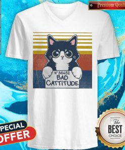 Cat Bad Cattitude No 86452 Vintage V-neck