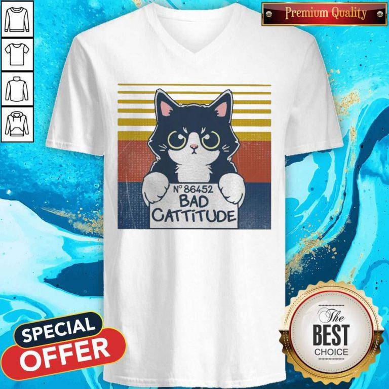 Cat Bad Cattitude No 86452 Vintage V-neck