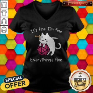 Cat It's Fine I'm Fine Everything's Fine V-neck