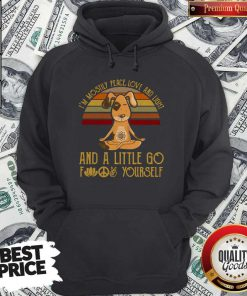 Dog Yoga I'm Mostly Peace Love And Light Vintage Hoodie