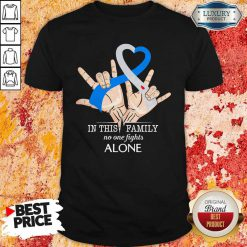 Hand Heart In This Family No One Fights Alone Shirt