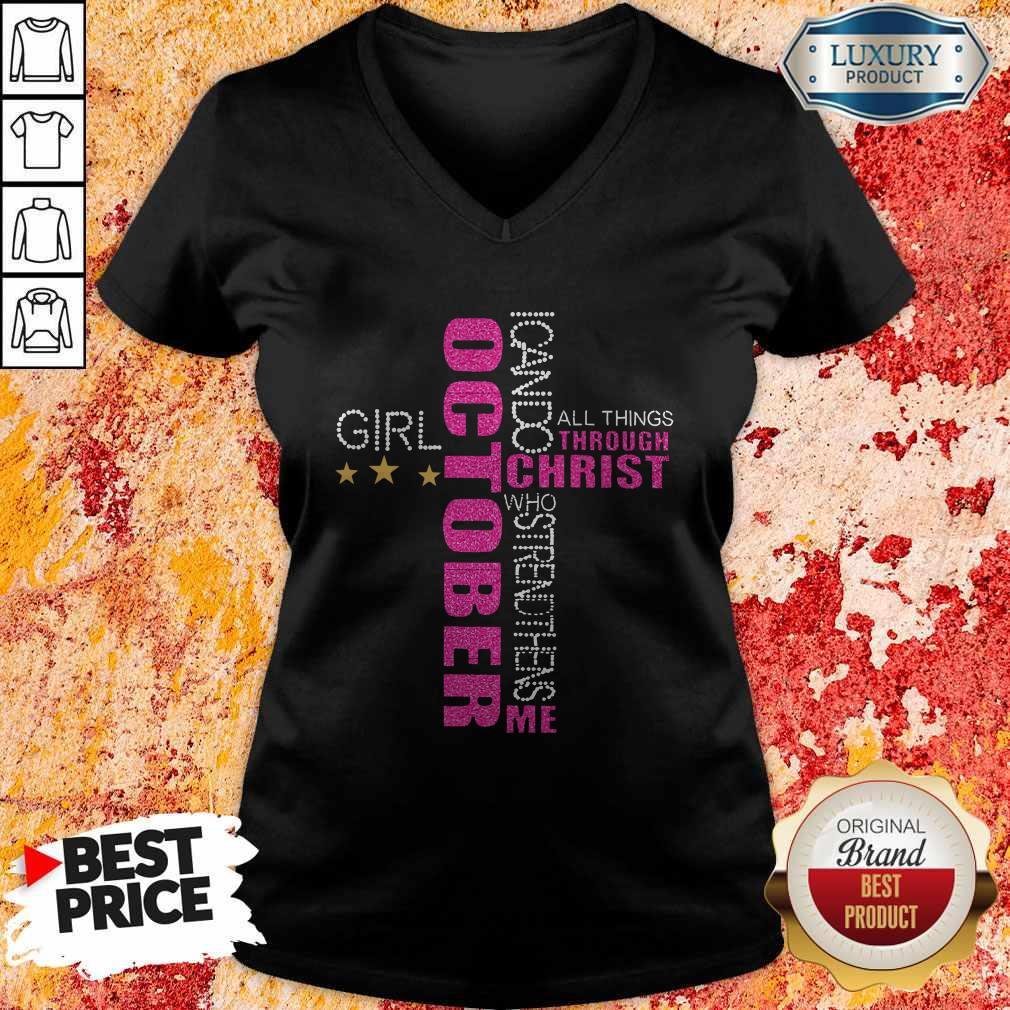 I Can Do All Things Through Christ Who Strengthens Me October Girl Diamond V-neck