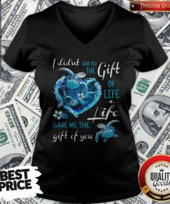 I Didn't Give You The Gift Of Life Turtle Blue V-neck