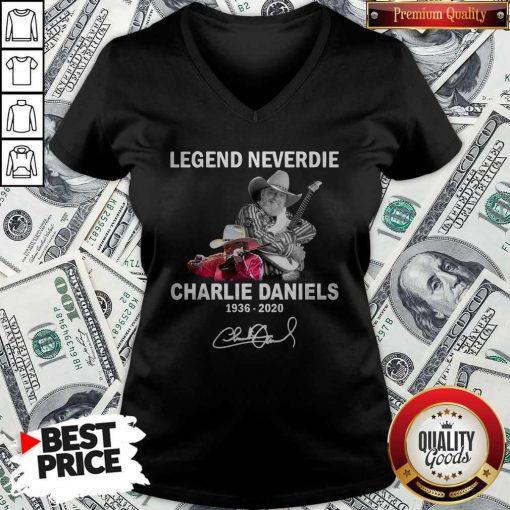 Legend Never Die Charlie Daniels 1936-2020 Signature V-neck