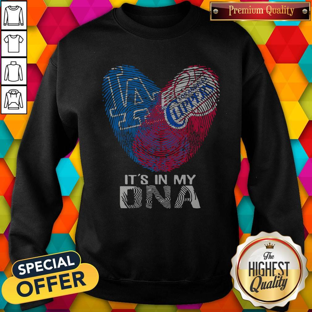 Los Angeles Clippers And Los Angeles Dodgers It's In My DNA Heart Sweatshirt