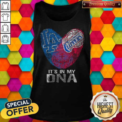 Los Angeles Clippers And Los Angeles Dodgers It's In My DNA Heart Tank Top