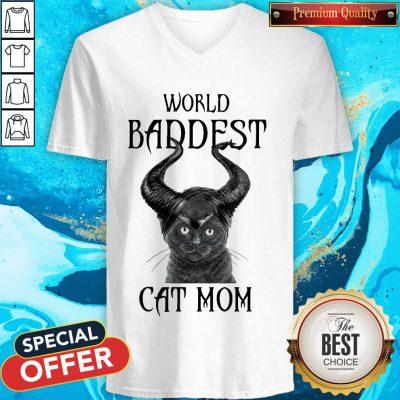 Maleficent Cat World Baddest Cat Mom V-neck