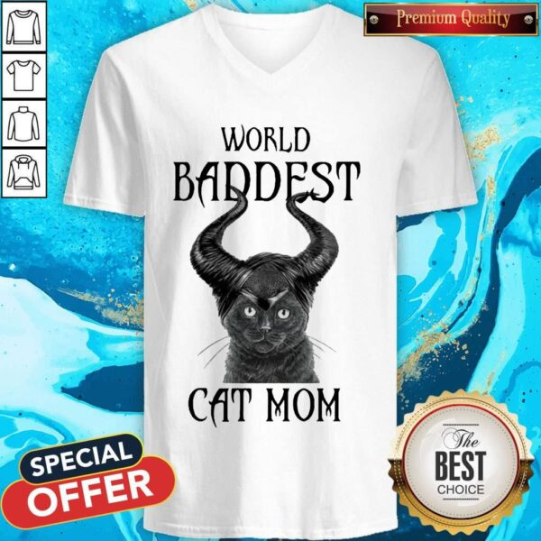 Maleficent Cat World Baddest Cat Mom V-neck