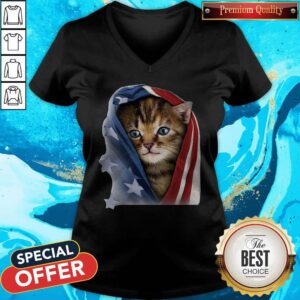 Official American Flag Cat V-neck
