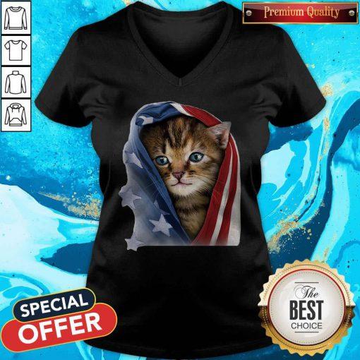 Official American Flag Cat V-neck
