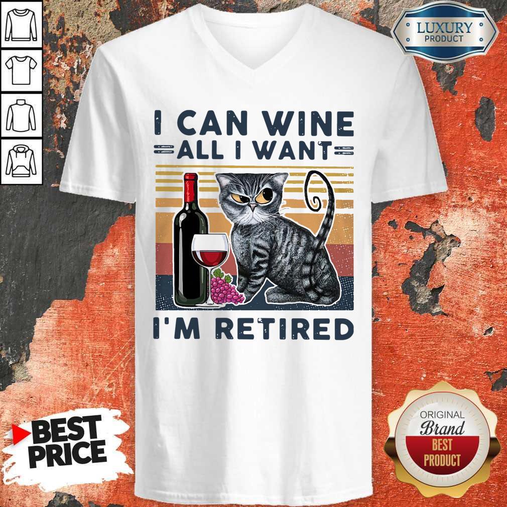 Official Cat I Can Wine All I Retired V-neck