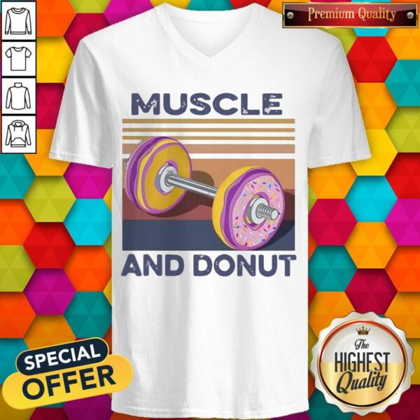 Official Muscle And Donut Vintage V-neck