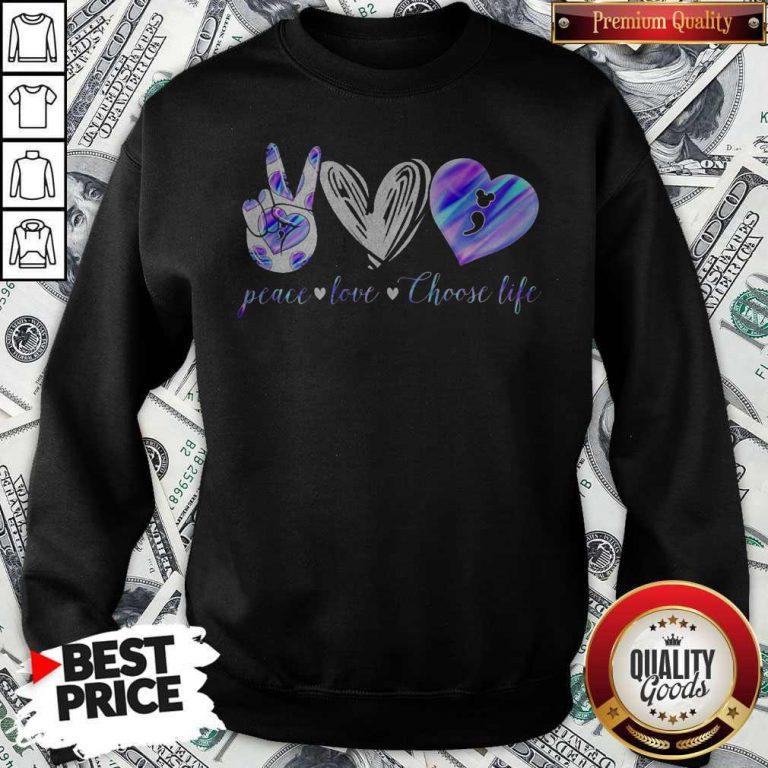 Peace Love Choose Life Mickey Mouse Sweatshirt