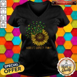 Sunflower World's Dopest Mom V-neck