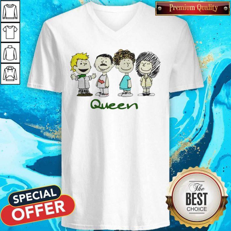 Top The Peanuts Characters Queen V-neck
