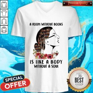 A Room Without Books Is Like A Body Without A Soul Flowers V-neck