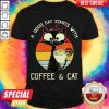 Black Cat A Good Day Starts With Coffee And Cat Vintage Retro Shirt
