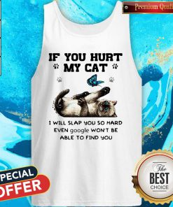 Butterfly If You Hurt My Cat I Will Slap You So Hard Even Google Won't Be Able To Find You V-neck