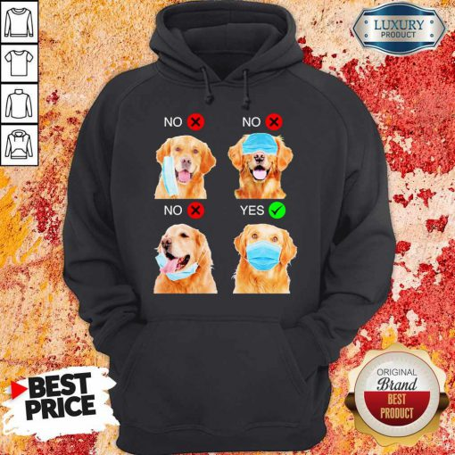 Cute Golden Retriever Dogs Right Way To Wear Mask Hoodie