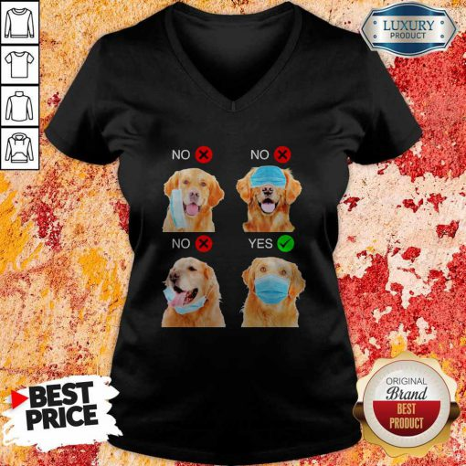 Cute Golden Retriever Dogs Right Way To Wear Mask V-neck