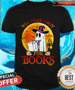 Cute Halloween Boos Will Trade Candy For Books Moon Shirt