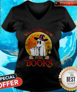 Cute Halloween Boos Will Trade Candy For Books Moon V-neck