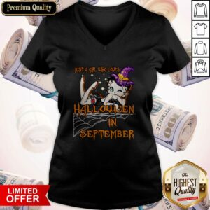 Cute Just A Girl Who Loves Halloween In September V-neck