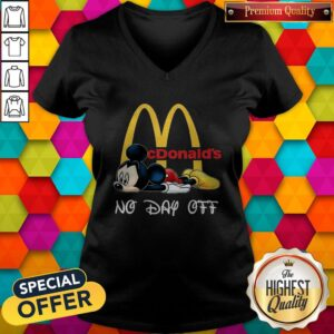Cute Mickey Mouse Mcdonald's No Day Off V-neck