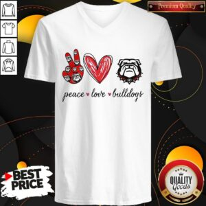 Cute Peace Love Georgia Bulldogs V-neck