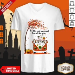 Halloween Bulldogs Pumpkin It's The Most Wonderful Time Of The Year V-neck
