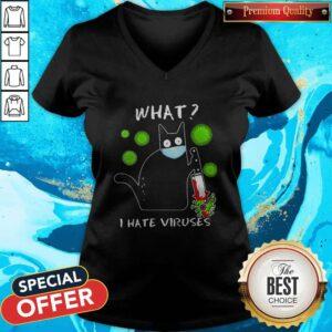 Happy Cat Mask What I Hate Viruses Covid-19 V-neck