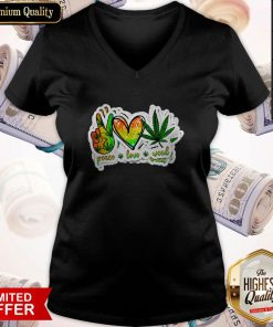 Happy Peace Love Weed V-neck