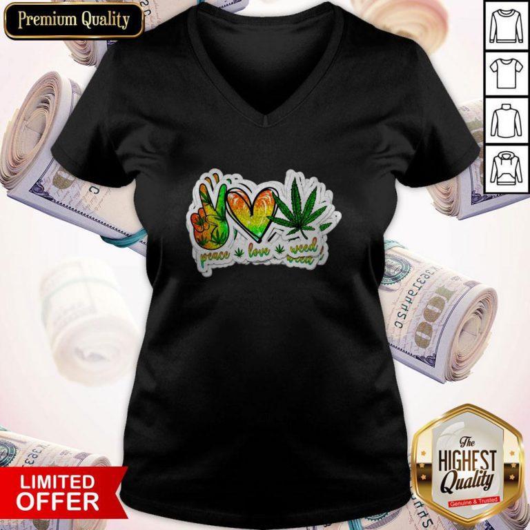 Happy Peace Love Weed V-neck