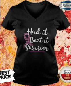 Hot Breast Cancer Awareness Had It Beat It Survivor V-neck