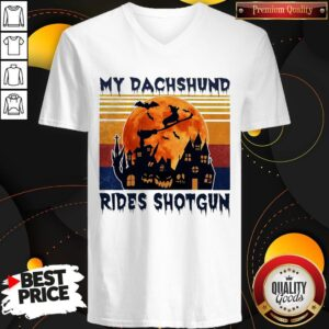 Hot Halloween My Dachshund Rides Shotgun Moon Vintage Retro V-neck