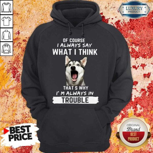 Husky Of Course I Always Say What I Think Thats Why I'm Always In Trouble Hoodie
