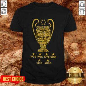 Kingsley Coman Alphonso Davies Manuel Neuer Lewandowski Goretzka Thomas Muller Kimmich Gnabry Alaba Thiago Boateng Mansi Flick 1974 1975 1976 2002 2013 2020 Shirt