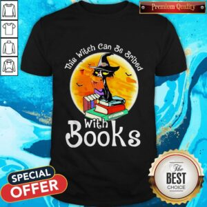 Love Halloween Cat This Witch Can Be Bribed With Books Moon Shirt