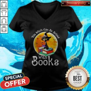 Love Halloween Cat This Witch Can Be Bribed With Books Moon V-neck