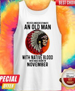 Never Underestimate An Old Man With Native Blood Who Was Born In November Sunset V-neck