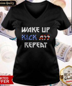 Nice Wake Up Kick Ass Repeat American Flag V-neck